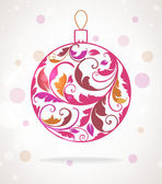 Pink Christmas vintage background with retro hand drawn balls for xmas design — Stock Vector