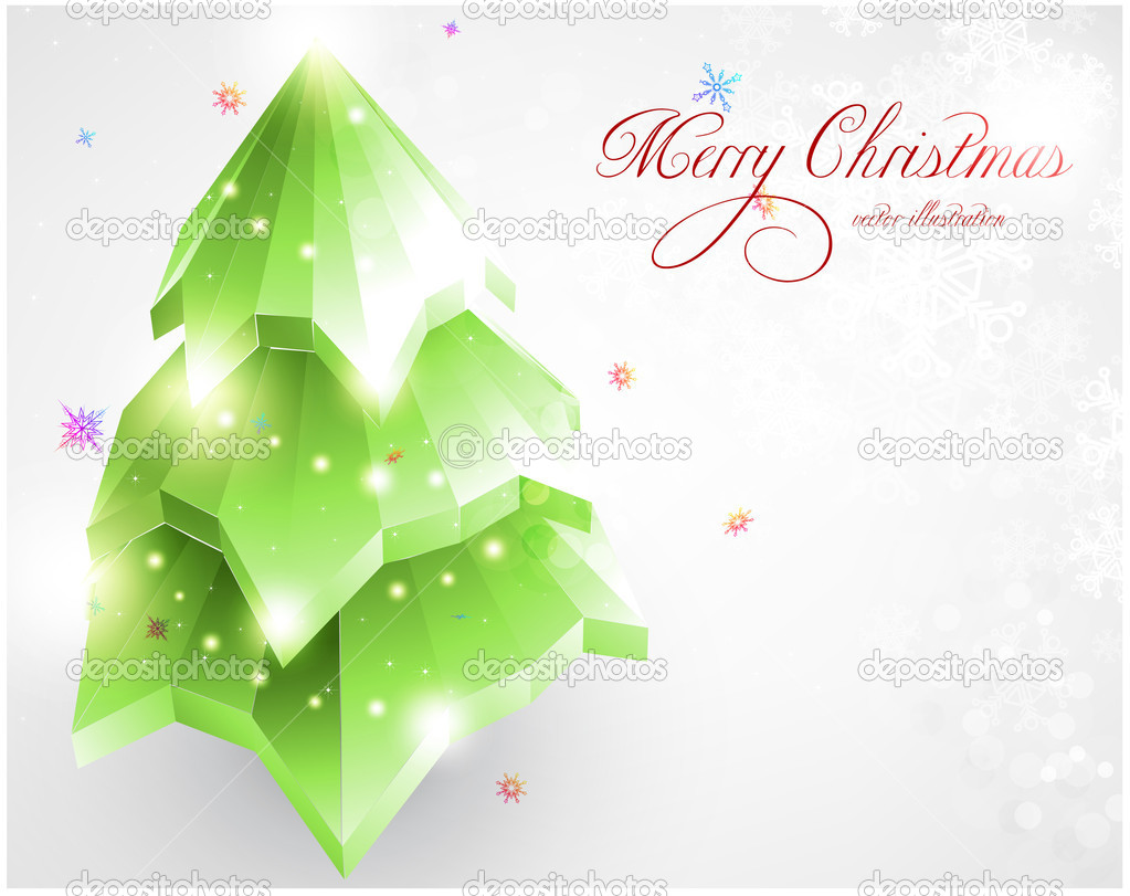 3D christmas fur tree for new year design. — Imagens vectoriais em stock #16318883