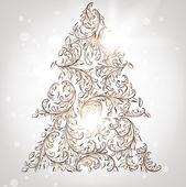 Hand drawn vintage christmas tree — Stock Vector