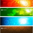 Set of techno and floral banners. — Stock Vector