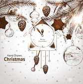 Christmas hand drawn fur tree for xmas design. With balls, toys, wall clock and fir-cone. — Stok Vektör