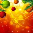 Christmas background with baubles and christmas tree - Grafika wektorowa