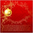 Stock Vector: Red Elegant christmas background with baubles