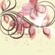 Hand Drawn floral background with flowers, greeting vector card for retro design — Stockvectorbeeld