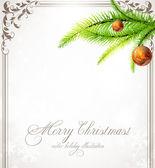 Новогодний фон с безделушки, ретро рама и Рождественская елка — Cтоковый вектор
