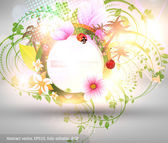 Abstract vector floral summer background with flowers, sun, palms and ladybird — Stock Vector