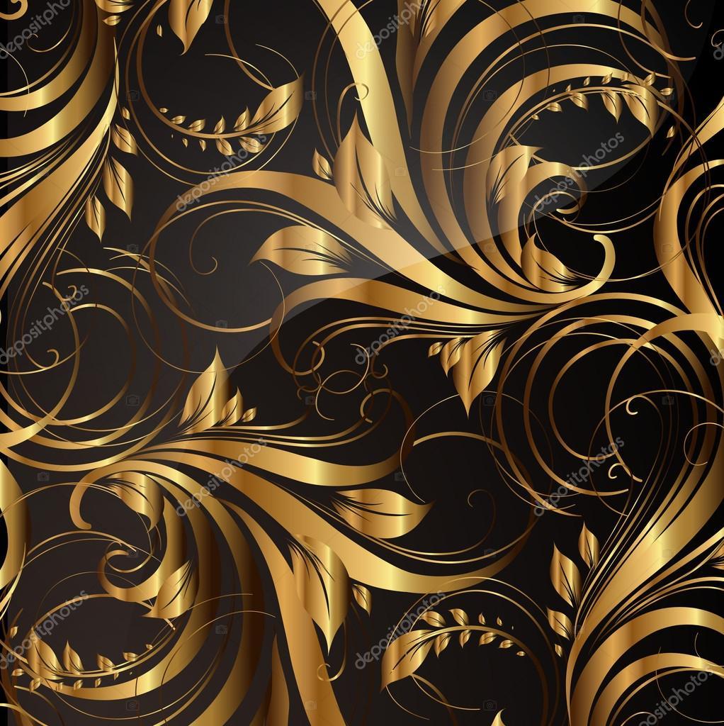 Nahtlose tapete muster gold vektor stockvektor - Tapete schwarz gold ...