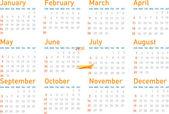 Simple modern calendar for 2010 — Stock Vector