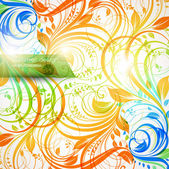 Blommig sommar designelement med solen skina — Stockvektor