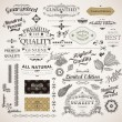 Royalty-Free Stock Vector Image: Vector set: calligraphic design elements, flowers and retro frames, Premium Quality and Satisfaction Guarantee vintage design Labels. Old style, vector collection.