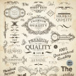 Vector set of calligraphic design elements: page decoration, Premium Quality and Satisfaction Guarantee Label, antique and baroque frames — Stock Vector