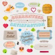 Royalty-Free Stock Imagem Vetorial: Speech bubbles and Guaranteed Labels set, birds and hearts. Old paper texture and vintage frames collection for invitation design.