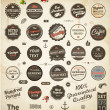 Set of Premium Quality and Guarantee Labels with retro vintage styled design, dirty and rusty texture vector - Stok Vektr