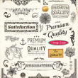 Vector set: calligraphic design elements, flowers and retro frames, Premium Quality and Satisfaction Guarantee vintage design Labels. Old style, vector collection. — Stock Vector #16912691