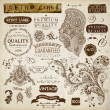 Vector set: calligraphic design elements, flowers and retro frames, Premium Quality and Satisfaction Guarantee vintage design Labels. Old style, vector collection. — Stock Vector