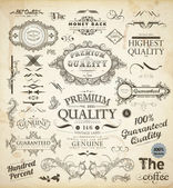 Vector set of calligraphic design elements: page decoration, Premium Quality and Satisfaction Guarantee Label, antique and baroque frames — Stock vektor