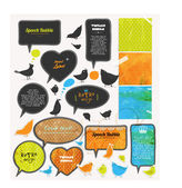 Speech bubbles and birds set, old paper textures. — Stock Vector