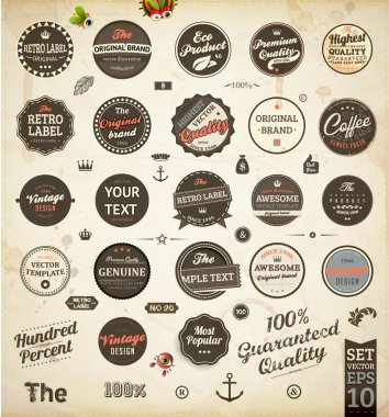 Set of Premium Quality and Guarantee Labels with retro vintage styled design, dirty and rusty texture vector