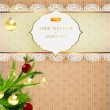Christmas background with baubles, retro frame and christmas tree - Stock Vector