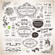 Vector set: calligraphic design elements and page decoration, Premium Quality, Seafarers and Satisfaction Guarantee Label collection with black grungy design and flowers — Stock Vector #16991021