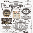 Vector set: calligraphic design elements and page decoration, Premium Quality, Seafarers and Satisfaction Guarantee Label collection with black grungy design and flowers - Stockvektor