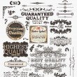 Vector set: calligraphic design elements and page decoration, Premium Quality, Seafarers and Satisfaction Guarantee Label collection with black grungy design and flowers - Grafika wektorowa