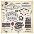 Vector set: calligraphic design elements and page decoration, Premium Quality, Seafarers and Satisfaction Guarantee Label collection with black grungy design and flowers - Stok Vektr