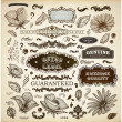 Vector set: calligraphic design elements and page decoration, Premium Quality, Seafarers and Satisfaction Guarantee Label collection with black grungy design and flowers — Stock Vector #16991509