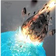 Stock Vector: Apocalypse 2012. Fall of a meteorite on Earth.
