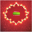 Red background with frame and lamp festive garland for holiday design. - Stock Vector