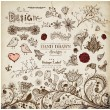 Hand Drawn floral ornaments with flowers and birds. Love elements. — Vettoriale Stock
