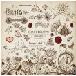 Hand Drawn floral ornaments with flowers and birds. Love elements. - Stock Vector