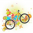Spring illustration with bike — Stock Vector