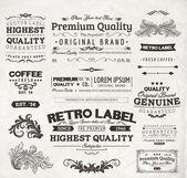 Conjunto de vetores: elementos de design de caligrafia e decoração da página, qualidade premium, marítimos e coleta de selo de garantia de satisfação com o projeto sujo preto e flores — Vetorial Stock