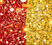 Golden and red glittering background with stars and beads — Stock Vector