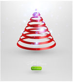 Christmas tree from red ribbon vector background. — Stockvector