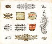 复古风格标签集合为复古设计的。旧纸张纹理背景 — 图库矢量图片