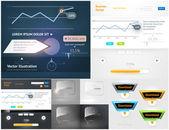 Collection elements conception web extrême pour la conception de l'entreprise. grand ensemble avec graphiques, diagrammes, boutons, icônes et phylactères — Vecteur