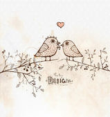 Vintage card with cute birds on the tree. Love — Stockvector