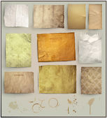 Scrapbooking set. old paper textures: different aged paper elements for your layouts — Stock Vector