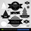 Christmas decoration collection. Set of calligraphic and typographic elements, frames, vintage circle labels, ribbons, borders, holly berries and snowflakes. All for holiday invitation design. — Stock Vector