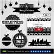 Cтоковый вектор: Christmas decoration collection. Set of calligraphic and typographic elements, frames, vintage circle labels, ribbons, borders, holly berries and snowflakes. All for holiday invitation design.