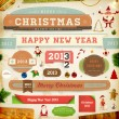 Christmas decoration collection. Set of calligraphic and typographic elements, frames, vintage circle labels, ribbons, borders, holly berries and snowflakes. All for holiday invitation design. — 图库矢量图片 #17462453