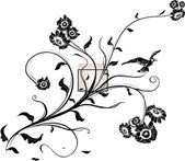 Hand Drawn floral background with flowers, greeting vector card for retro design — Stock Vector