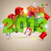 Gros 2013 3d vectoriels lettres pour le design de noël et du nouvel an. boules, cadeaux, ornements - ensemble d'éléments de conception de noël. — Vecteur
