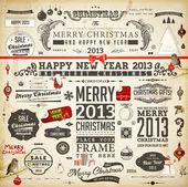 Vánoční dekorace kolekce. sada kaligrafické a typografické prvky, rámy, vintage popisky. pásky, samolepky, santa a angel. ručně tažené vánoční koule, kožešiny větví a dárky. — Stock vektor