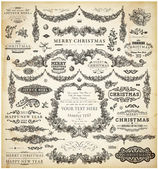 Christmas decoration collection. Set of calligraphic and typographic elements, frames, vintage labels. Ribbons, stickers, Santa and angel. Hand drawn christmas balls, fur tree branches and gifts. — Vecteur