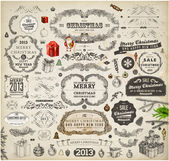 Christmas decoration collection. Set of calligraphic and typographic elements, frames, vintage labels. Ribbons, stickers, Santa and angel. Hand drawn christmas balls, fur tree branches and gifts. — Stock vektor
