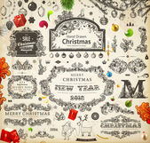 Christmas decoration collection. Set of calligraphic and typographic elements, frames, vintage labels. Ribbons, stickers, Santa and angel. Hand drawn christmas balls, fur tree branches and gifts. — Cтоковый вектор