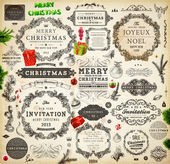 Christmas decoration collection. Set of calligraphic and typographic elements, frames, vintage labels. Ribbons, stickers, Santa and angel. Hand drawn christmas balls, fur tree branches and gifts. — Stok Vektör